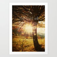bible verses Art Prints featuring Typographic Motivational Bible Verses - Exodus 14:14 by The Wooden Tree