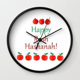 Rosh Hashanah or Jewish Near year greetings with fruit harvests Wall Clock