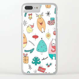 Cute Colorful Cartoon Christmas Animals Pattern Clear iPhone Case