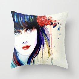 Zooey Watercolor Throw Pillow