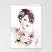 cup Stationery Cards featuring cup by tatiana-teni