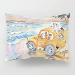 Dogs Family at the beach Pillow Sham