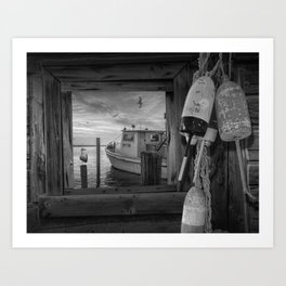 Black and White of Fishing Boat, Gulls and Fishing Bouys at Sunrise Art Print