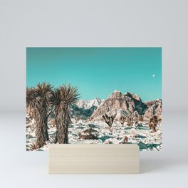 Vintage Lovers Cacti // Red Rock Canyon Mojave Nature Plants and Snow Desert in the Winter Mini Art Print