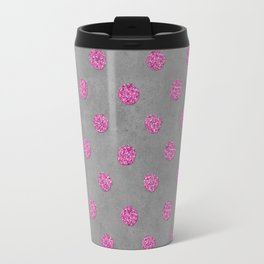 Pink Glitter Dots on grey background Travel Mug