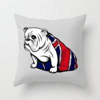british flag Throw Pillows featuring British Bulldog by Pancho the Macho
