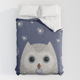 Christmas Owl Blue Marble Comforters