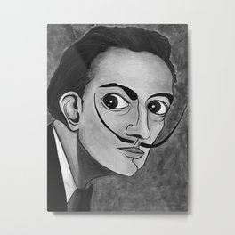 Salvador Dalí black and white portrait Metal Print