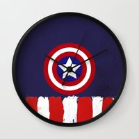 """steve rogers Wall Clocks featuring Captain """"Steve Rogers"""" America by Some_Designs"""