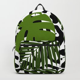 Leopard and palm leaves seamless pattern. Backpack