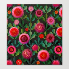 Bright Blooms Hand-Print Floral - Dark Canvas Print