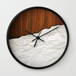 Wooden Crumbled Paper Wall Clock