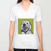 kermit V-neck T-shirts featuring Kermit the labradoodle by Pawblo Picasso