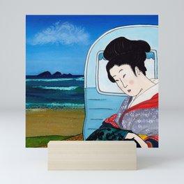 Mrs Hokusai Goes To The Amenities Block Mini Art Print