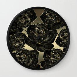 Black & Gold Roses Wall Clock