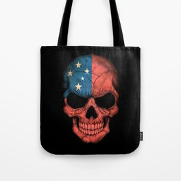 Dark Skull with Flag of Samoa Tote Bag