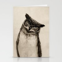 dude Stationery Cards featuring Owl Sketch by Isaiah K. Stephens