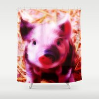 piglet Shower Curtains featuring very pink Piglet by MehrFarbeimLeben