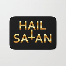Hail Satan- Golden Antichrist quote with occult symbol Bath Mat