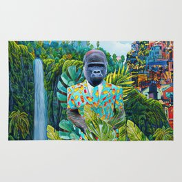 Gorilla in the jungle Rug