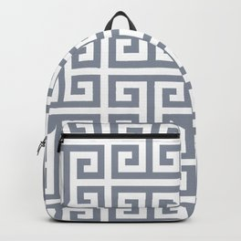 Large Steel Grey and White Greek Key Pattern Backpack