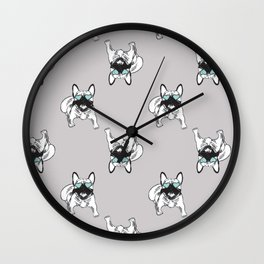 Soft grey Frenchies Wall Clock