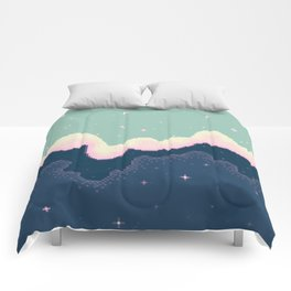 Pixel Day and Night Galaxy Comforters