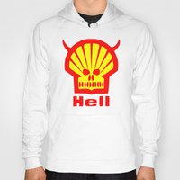 hell Hoodies featuring HELL by karmadesigner