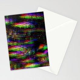 Old TV screen error. Digital pixel glitch Stationery Cards
