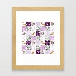 Corgi Patchwork Print - purple ,florals , floral, spring, girls feminine corgi dog Framed Art Print