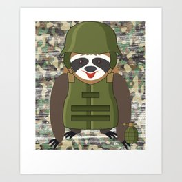 Armed Forces Military Sloth  Art Print