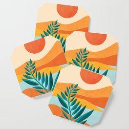 Mountain Sunset / Abstract Landscape Illustration Coaster
