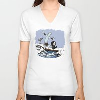 calvin hobbes V-neck T-shirts featuring Jon and Hobbes beyond the wall by BovaArt