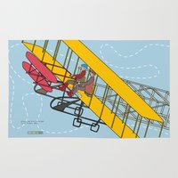 aviation Area & Throw Rugs featuring Wilbur and Orville Wright, 1903 by Magnetic Boys