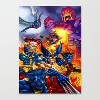 x men Canvas Prints featuring X - MEN by Vincent Trinidad
