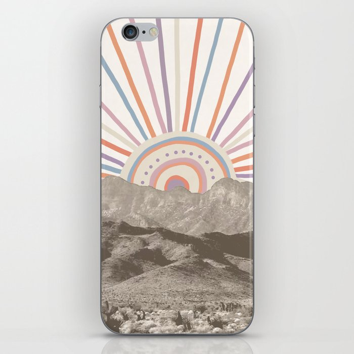 Bohemian Tribal Sun / Abstract Vintage Mountain Happy Summer Vibes Retro Colorful Pastel Sky Artwork iPhone Skin