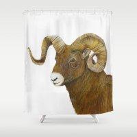 ram Shower Curtains featuring Ram by Jan Elizabeth
