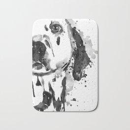 Black And White Half Faced Dalmatian Dog Bath Mat