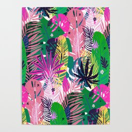 Seamless exotic pattern with mottled tropical palm leaves Poster