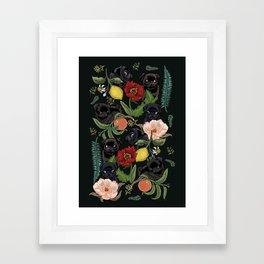 Botanical and Black Pugs Framed Art Print