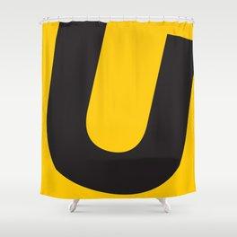 Sans Serif U. Black on Yellow. Shower Curtain