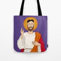 korean Tote Bags featuring North Korean Jesus by Chris Piascik