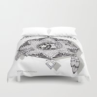 zentangle Duvet Covers featuring Zentangle Dreamcatcher by Vermont Greetings