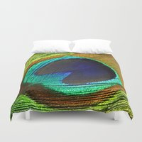 feathers Duvet Covers featuring feathers by mark ashkenazi