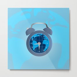 Earth and alarm clock on map background Metal Print