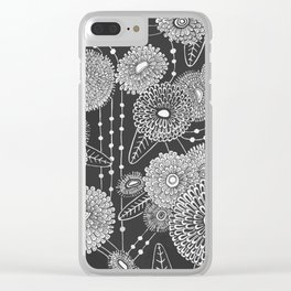 Asters rain in black and white Clear iPhone Case