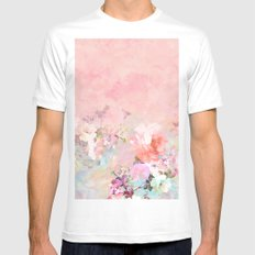 Modern blush watercolor ombre floral watercolor pattern Mens Fitted Tee White MEDIUM