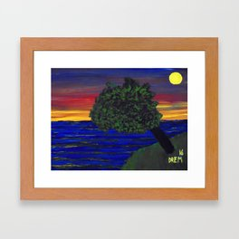 6x8 inch tree and sunset Framed Art Print