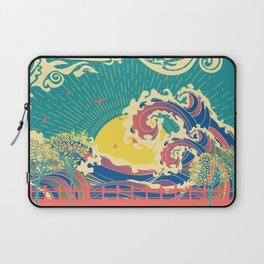 Stylized trees and stormy ocean or sea at sunset Laptop Sleeve