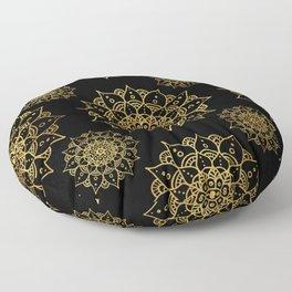 Hand Drawn Mandala Pattern - Black & Gold Floor Pillow